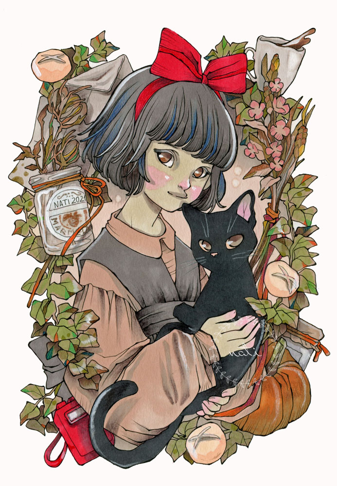 Young witch with her cat
